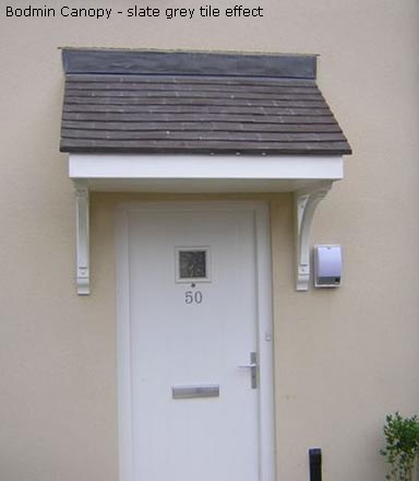 The Bodmin single door canopy is supplied with a pre-finished traditional tile or slate effect roof and has a low-maintenance white fascia and soffit. & House Martin Construction - Lightweight and Durable Lean-To Canopies
